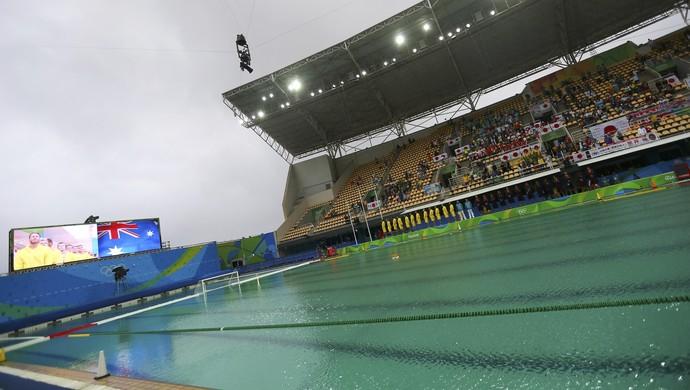 Piscina verde no Maria Lenk, polo aquático, quarta-feira (10) (Foto: Reuters)