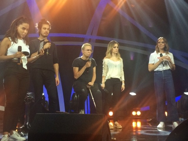 Anitta, Tiago Iorc, Maria Gad, Sandy e Mel C ensaiam para o Msica Boa Ao Vivo (Foto: Multishow)