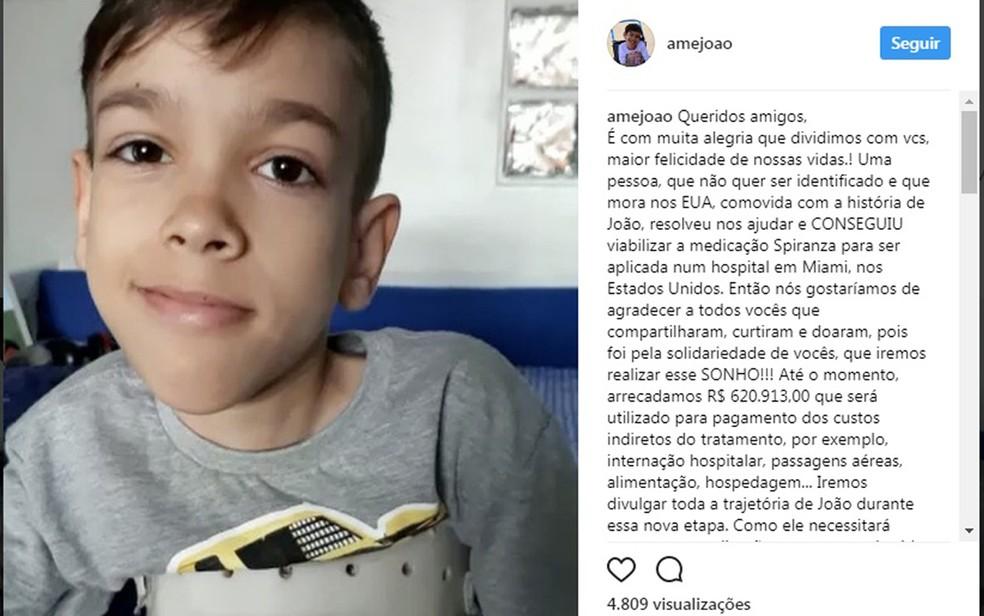 Menino sofre com doença rara que afeta musculatura do corpo (Foto: Reprodução/ Instagram)