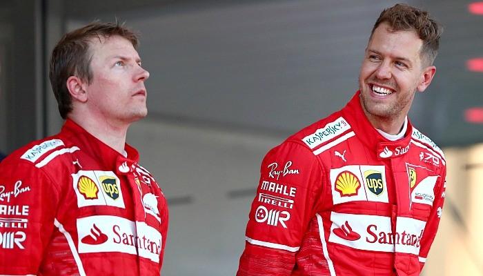 Sebastian Vettel e Kimi Raikkonen no pódio