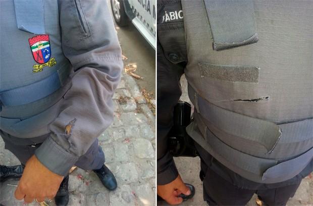 PM que foi alvo do suspeito, teve a farda e o colete perfurados por facadas, mas não sofreu ferimentos (Foto: Divulgação/Polícia Militar do RN)