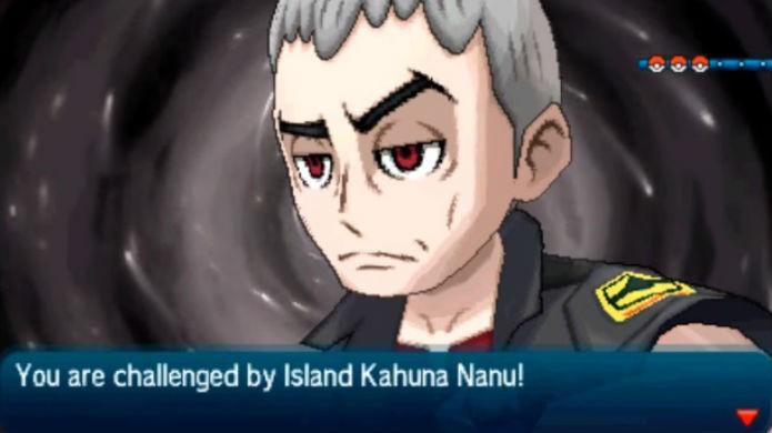 Pokémon Sun e Moon: Kahuna Nanu ataca com Pokémon do tipo Sombrio (Foto: Reprodução / Thomas Schulze )