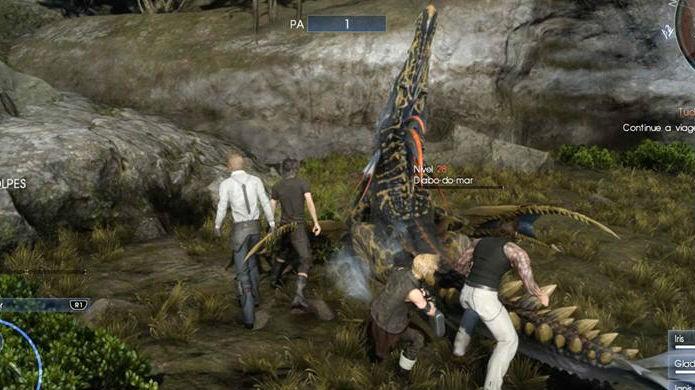 Final Fantasy XV: O aviso no canto superior indica que os personagens ganharam PA (Foto: Reprodução / Thomas Schulze)