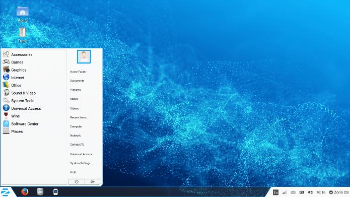 Área de trabalho do Zorin OS lembra muito o Windows 7 (Foto: Divulgação/Zorin OS)