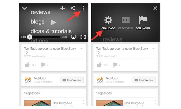 Acessando a opção de qualidade de um vídeo no aplicativo do YouTube para iPhone (Foto: Reprodução/Marvin Costa)