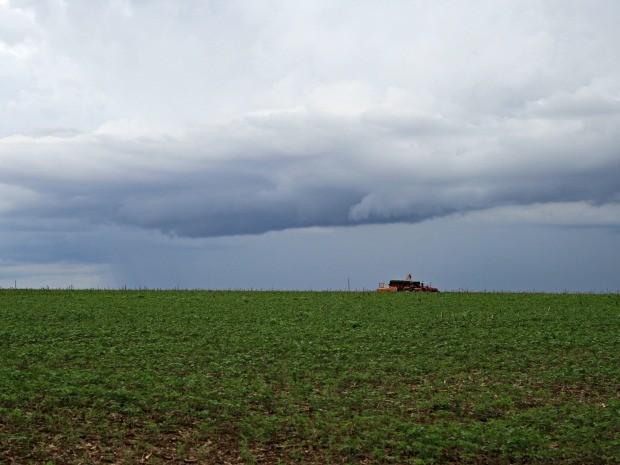 Com a volta das chuvas, produtores aproveitam para retomar plantio da safra de soja em Mato Grosso (Foto: Amanda Sampaio/G1)