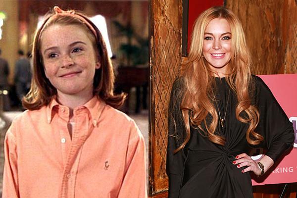 Lindsay Lohan nos anos 90 e atualmente (Foto: Divulgação)