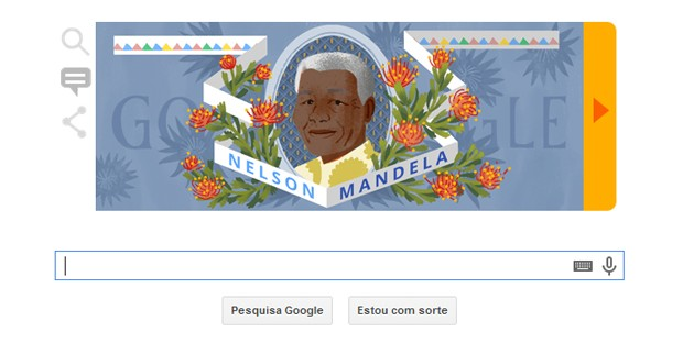 'Doodle' desta sexta-feira (18) homenageia aniversário de Nelson Mandela (Foto: Reprodução/Google)