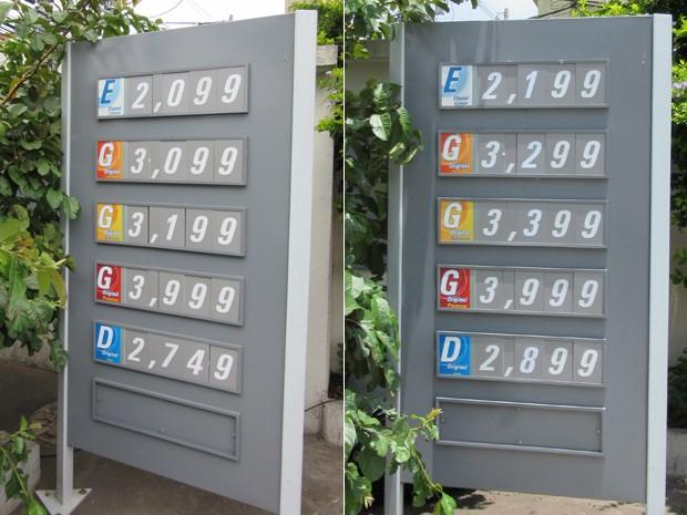 Na Rua Serra de Bragança, na Zona Leste, houve aumento de R$ 0,10 no preço do etanol e de R$ 0,20 no da gasolina entre sexta e segunda (Foto: Karina Trevizan/G1)