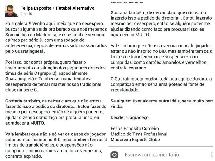 Felipe Esposito, médico do madureira, irregularidades na internet (Foto: Reprodução)
