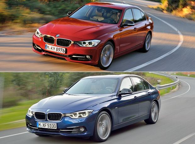 Acima o modelo atual do BMW Série 3, abaixo a nova versão (Foto: Divulgação)