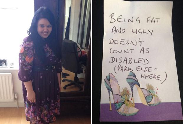 """A estudante de doutorado Sarah Metcalfe, que sofre de fibromialgia, e o bilhete deixado no carro: """"Ser gorda e feia não é deficiência. Estacione em outro lugar"""" (Foto: Reprodução / Facebook)"""