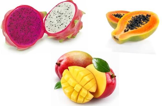 Pitaya, mamão e manga são algumas das frutas ricas em betacaroteno (Foto: Divulgação)