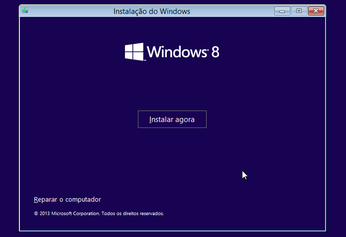 Iniciando instalação do Windows 8 (Foto: Reprodução/Helito Bijora)