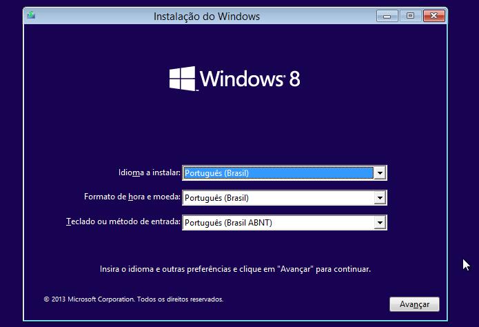 Iniciando instalação do Windows 8