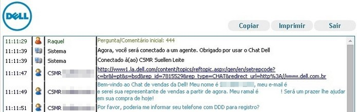 Matrícula na instituição deve ser informada ao vendedor no chat ou telefone (Foto: Reprodução/Raquel Freire)