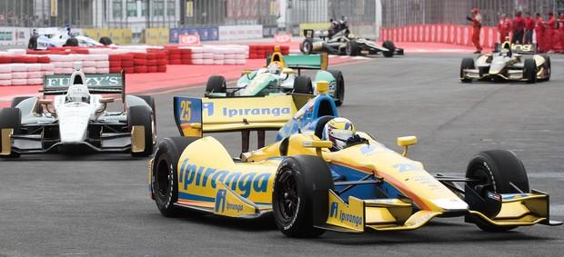 Indy - Bia Figueiredo guia o carro da Andretti durante a prova de São Paulo (Foto: Guilherme Lara Campos / FotoArena)