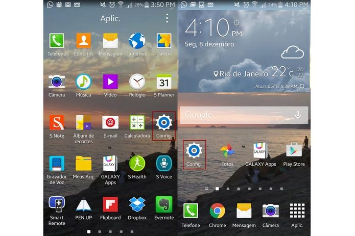 """Abra """"Configurações"""" no Galaxy Note 4 (Foto: Reprodução/Lucas Mendes)"""