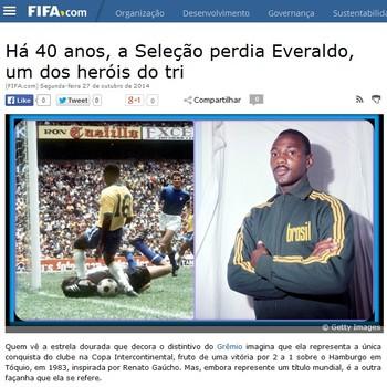 Everaldo foi homenageado pelo site da Fifa (Foto: Reprodução/Site da Fifa)