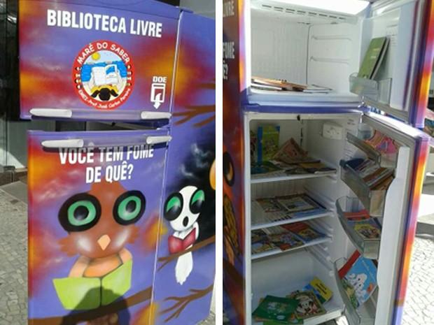 Geladeira com os livros em Ubatuba fica aberta e pessoas podem ficar com eles o tempo que quiserem (Foto: Artur Leite/ Vanguarda Repórter)