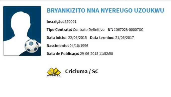 Bryankizito NNA Nyereugo Criciúma (Foto: Reprodução/BID)