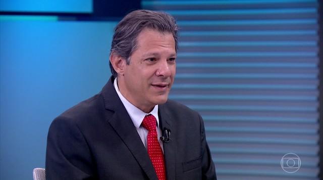 Fernando Haddad (PT) é entrevistado no Jornal da Globo