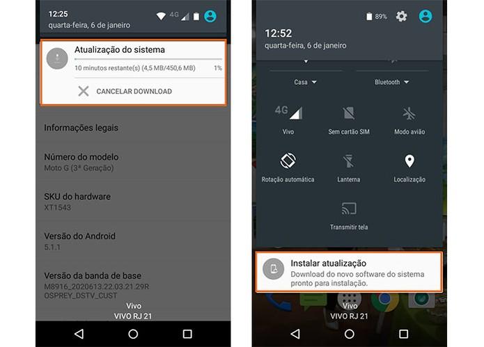 Aguarde o download do Android 6.0 e depois inicie a instalação no Moto G (Foto: Reprodução/Barbara Mannara)