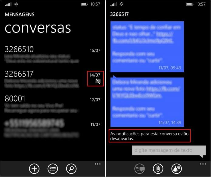 Identificando conversa silenciada (Foto: Reprodução/Helito Bijora)