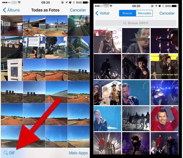 Abrindo a galeria de GIFs no WhatsApp (Foto: Reprodução/Helito Bijora)