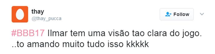 Tuíte Ilmar liderança (Foto: Reprodução Twitter\@thay_pucca)