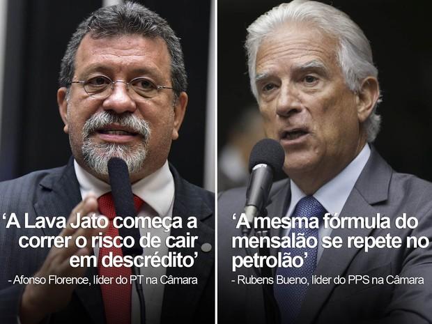 Falas sobre Lava Jato: Afonso Florence, líder do PT na Câmara, e Rubens Bueno, líder do PPS na Câmara (Foto: Zeca Ribeiro/Câmara dos Deputados; Ananda Pimentel/Câmara dos Deputados)