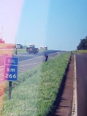 Vídeo mostra roubo a carro-forte em Luiz Antônio, SP (Foto: Reprodução/ Arquivo pessoal)