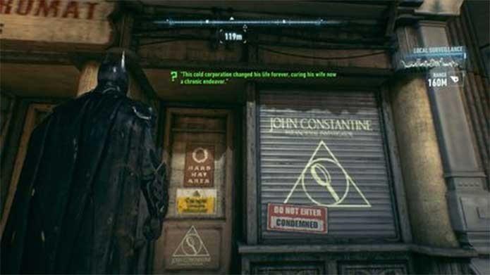 O mago John Constantine tem uma loja no game Arkham Knight (Foto: Reprodução/Rocksteady)