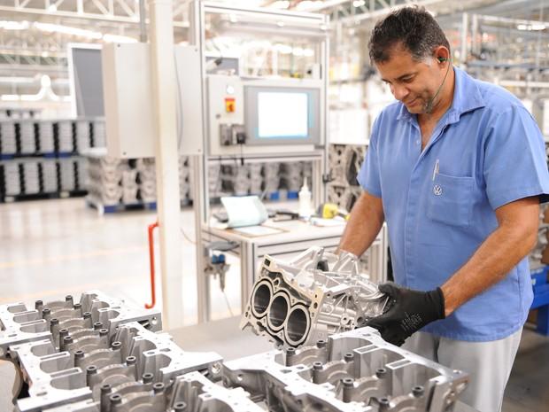 Bloco do motor 1.0 do Volkswagen Up!, feito no Brasil, será usado na Europa (Foto: Divulgação)