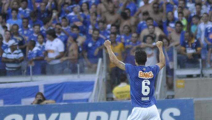 Egídio comemora com a torcida o gol marcado contra o Botafogo (Foto: Gualter Naves/Light Press)