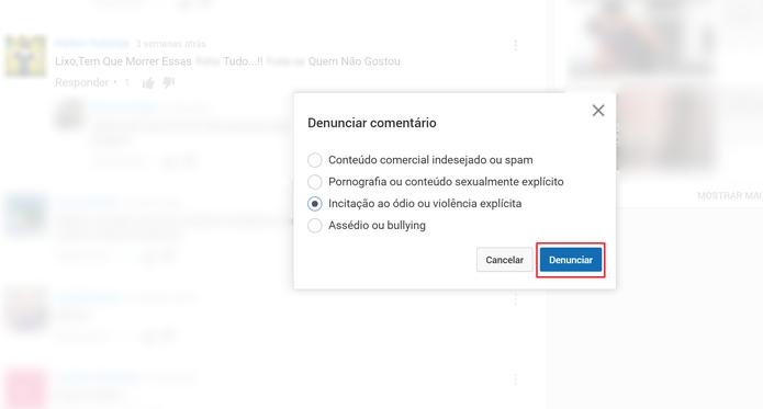 Clique em Denunciar para finalizar sinalização de conteúdo como impróprio no YouTube (Foto: Reprodução/Elson de Souza)
