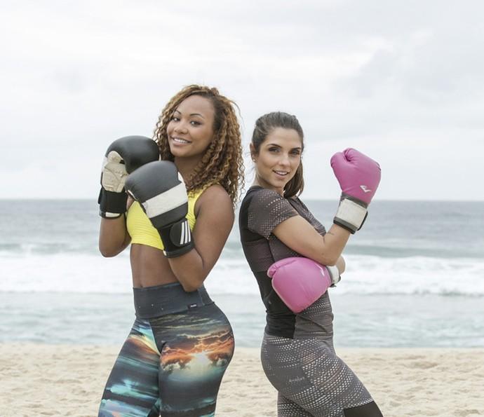 Duplas formadas! Luana Bandeira (à esquerda) está ao lado de Carla Morone (Foto: Raphael Dias/Gshow)