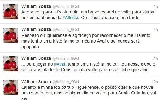 William revela interesse do Figueirense em seu Twitter (Foto: Reprodução)