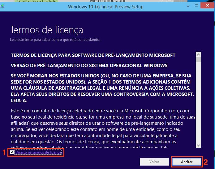 Aceitando os termos de uso do software (Foto: Reprodução/Edivaldo Brito)
