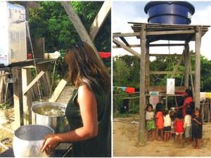 Desinfeccção solar de água na aldeia indígena Morada Nova, da tribo Deni, no Amazonas  (Foto: Divulgação/ QLuz)