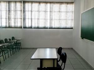 Sala as de aula continuam vazias (Foto: Heloise Hamada/G1)