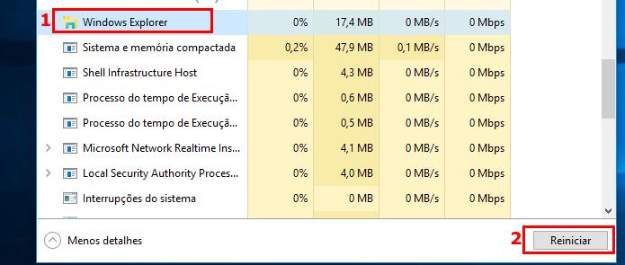 Reiniciando o Windows Explorer (Foto: Reprodução/Edivaldo Brito)