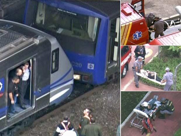 Passageiros são socorridos após acidente na Linha Vermelha do Metrô (Foto: Reprodução/TV Globo)
