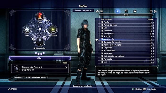 Final Fantasy XV: depois de selecionar o elemento e o catalisador, pressione Criar (Foto: Reprodução/Victor Teixeira)
