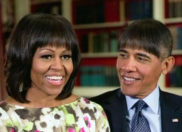 Durante seu discurso, Obama falou dos penteados de Michelle e provocou os risos dela quando mostrou imagens dele com as mesmas franjas (Foto: Reuters)