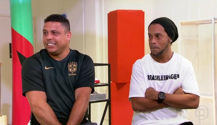 Ronaldo Fenômeno e Ronaldinho Gaúcho em entrevista para o Esporte Espetacular (Foto: Reprodução TV Globo)