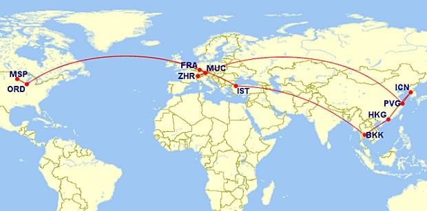 Itinerário da viagem da americana Alissa Haupt (Foto: Alissa Haupt/Arquivo pessoal)