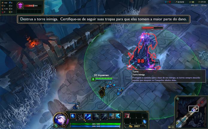 Destrua as torres em League of Legends com a ajuda dos minions (Foto: Reprodução/Caio Fagundes)