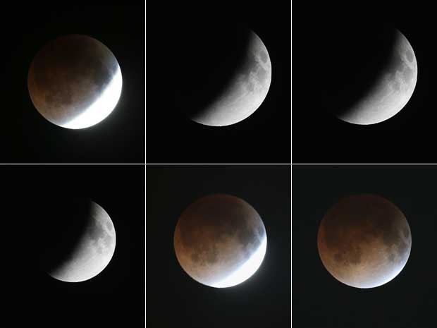 Progressão do eclipse lunar total visto em Miami, nos EUA. (Foto: Joe Raedle / Getty Images / AFP Photo)