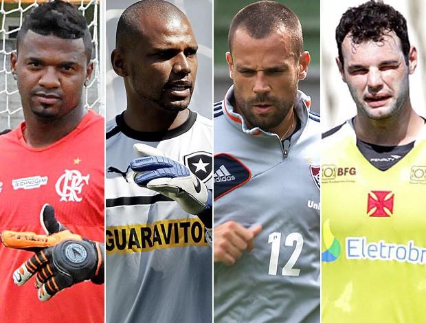 Montagem Goleiros - Felipe (Flamengo) - Jefferson (Botafogo) - Diego Cavalieri (Fluminense) - Alessandro (Vasco) (Foto: Editoria de Arte)